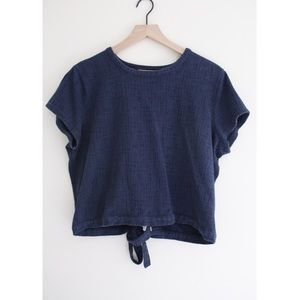 • MADEWELL BLUE TIE BACK TOP SZ XL •